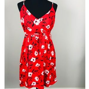 GILLI RED STRAPPY FLORAL DRESS NWT